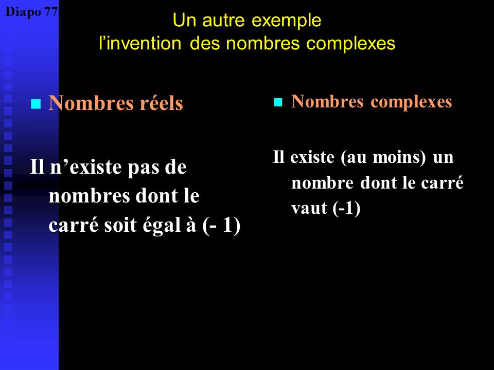 Un autre exemple l'invention des nombres complexes