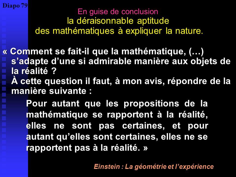 Diapo 79 En guise de conclusion la déraisonnable aptitude des mathématiques à expliquer la nature.
