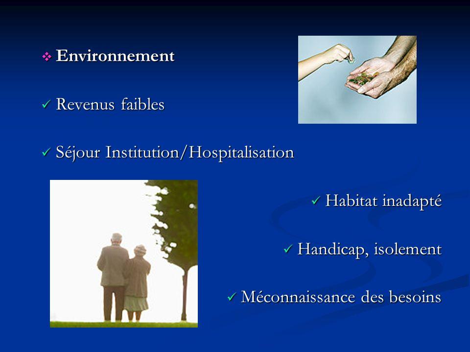 Environnement Revenus faibles. Séjour Institution/Hospitalisation. Habitat inadapté. Handicap, isolement.
