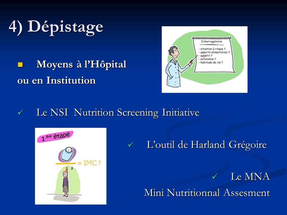 4) Dépistage Moyens à l'Hôpital ou en Institution