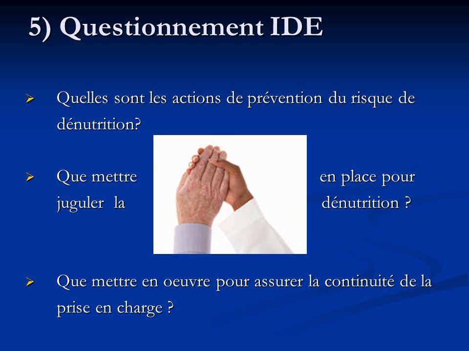 5) Questionnement IDE Quelles sont les actions de prévention du risque de. dénutrition