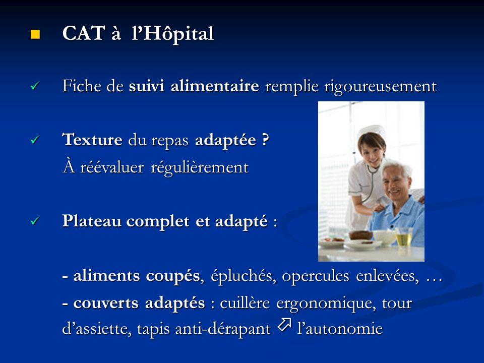 CAT à l'Hôpital Fiche de suivi alimentaire remplie rigoureusement