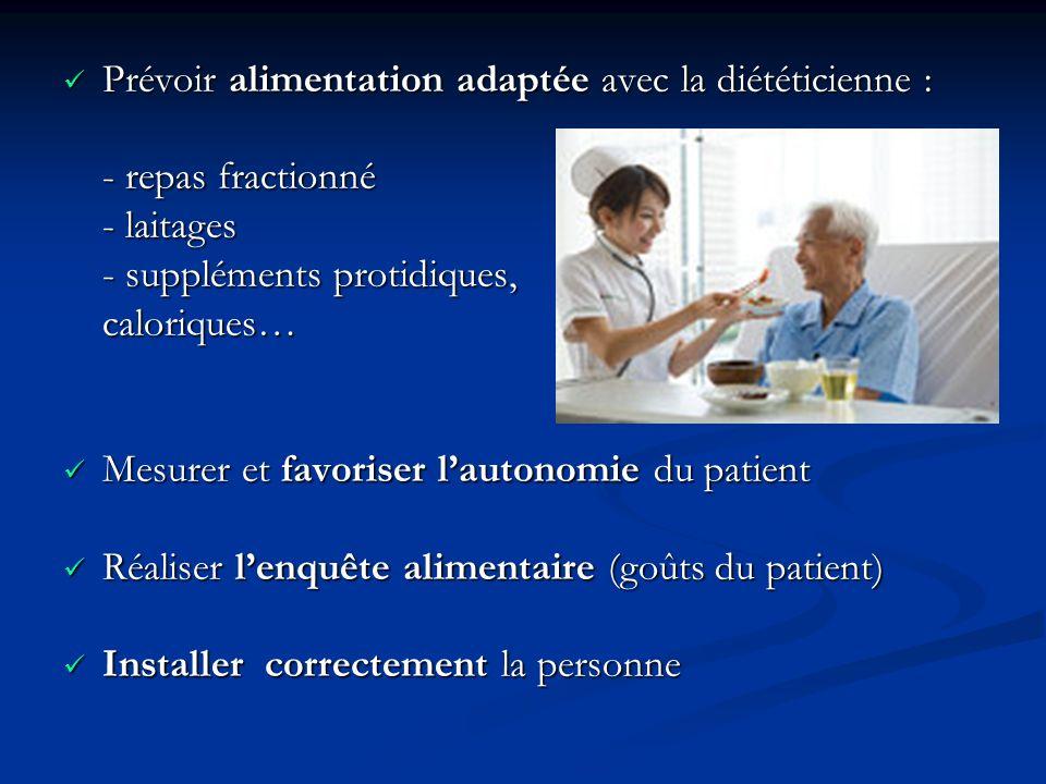 Prévoir alimentation adaptée avec la diététicienne :