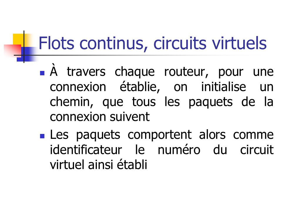 Flots continus, circuits virtuels