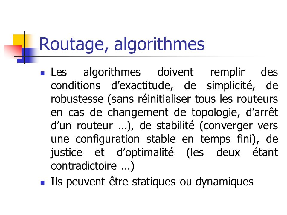 Routage, algorithmes