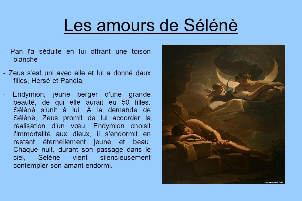 Les amours de Sélénè - Pan l a séduite en lui offrant une toison blanche. - Zeus s est uni avec elle et lui a donné deux filles, Hersé et Pandia.