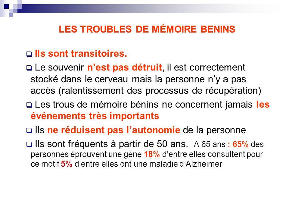 LES TROUBLES DE MÉMOIRE BENINS