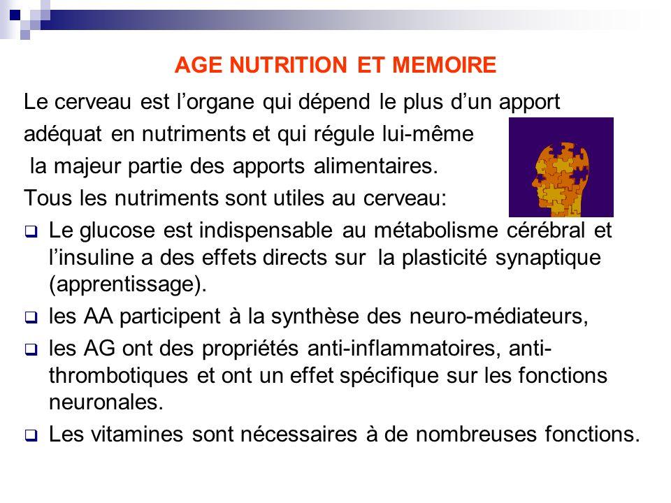 AGE NUTRITION ET MEMOIRE