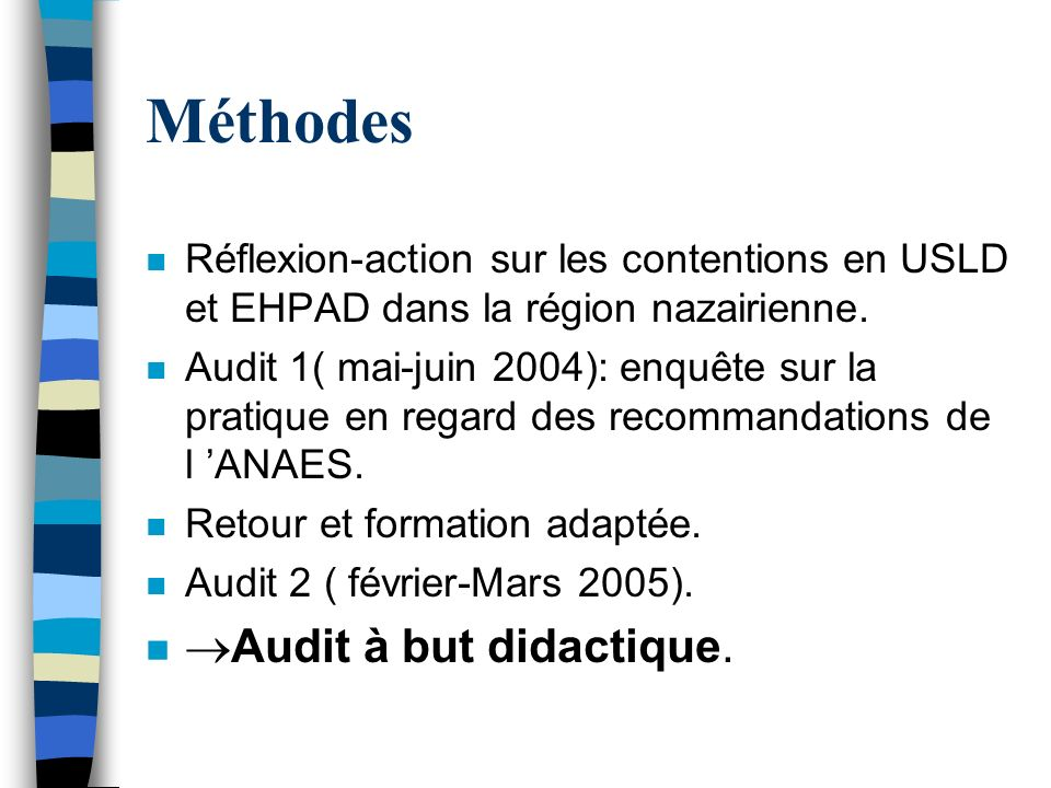 Méthodes Audit à but didactique.
