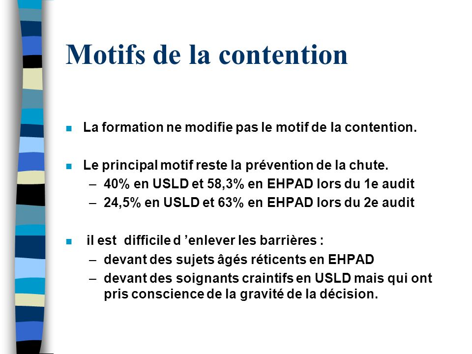 Motifs de la contention