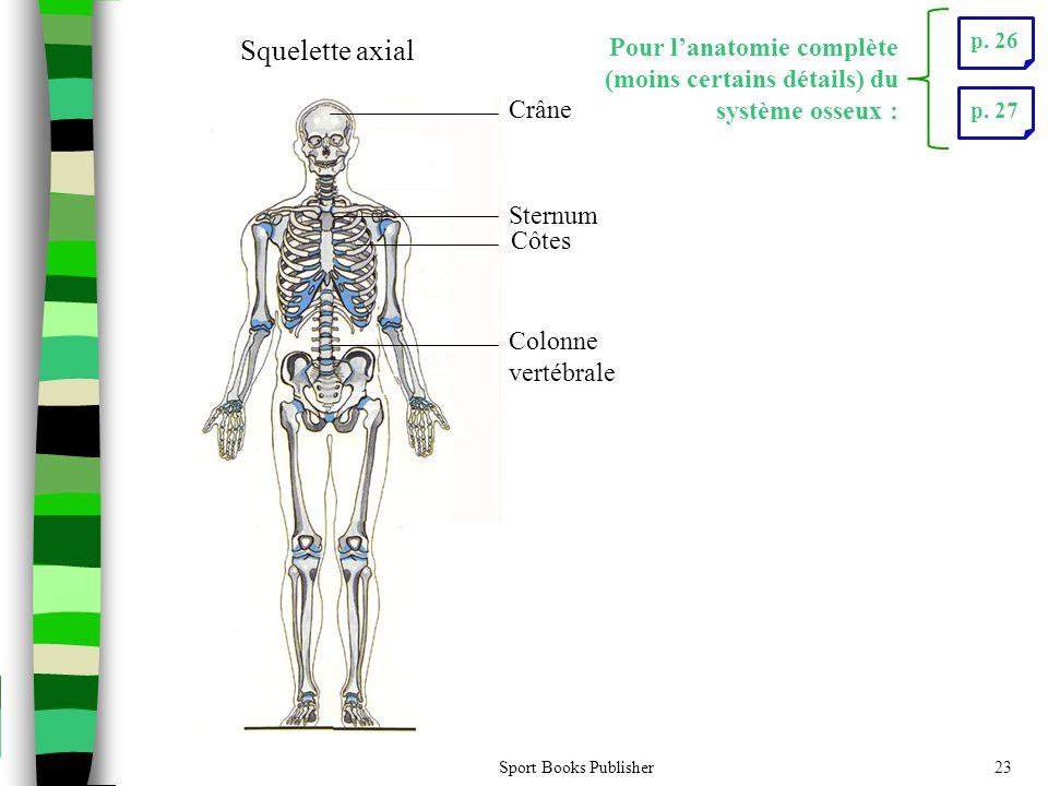 p. 26 Crâne. Sternum. Côtes. Colonne vertébrale. Squelette axial. Pour l'anatomie complète (moins certains détails) du système osseux :
