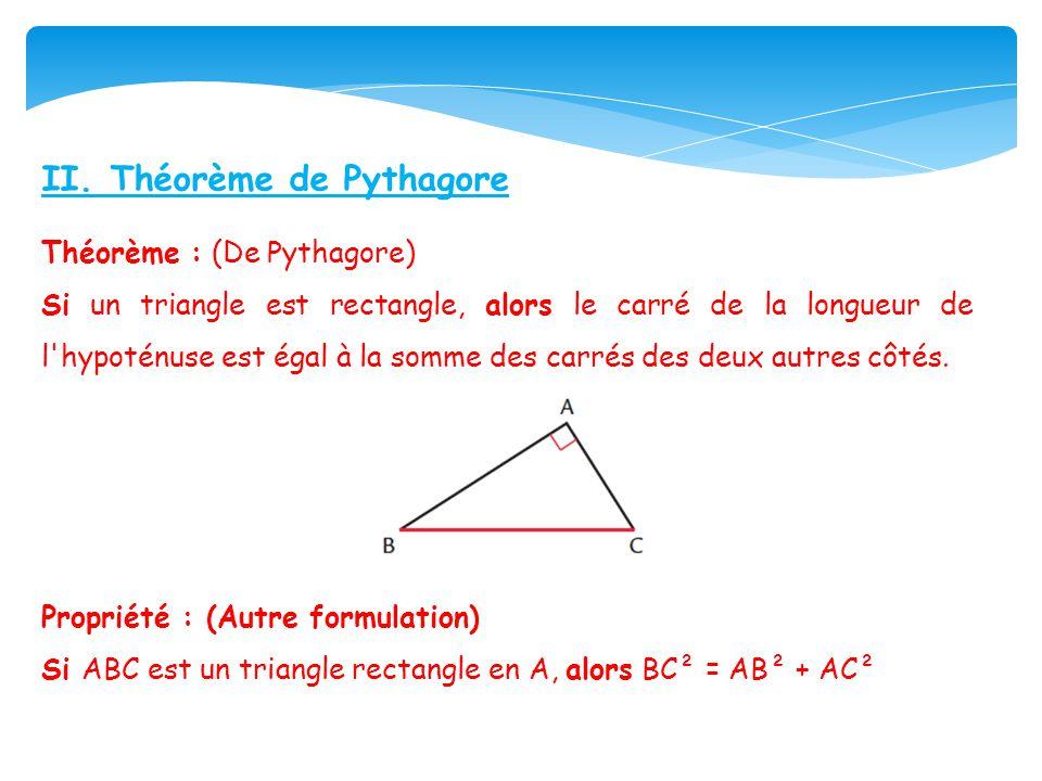 II. Théorème de Pythagore