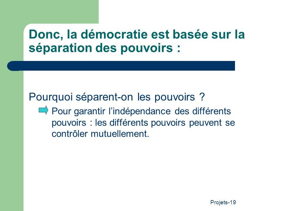 Donc, la démocratie est basée sur la séparation des pouvoirs :
