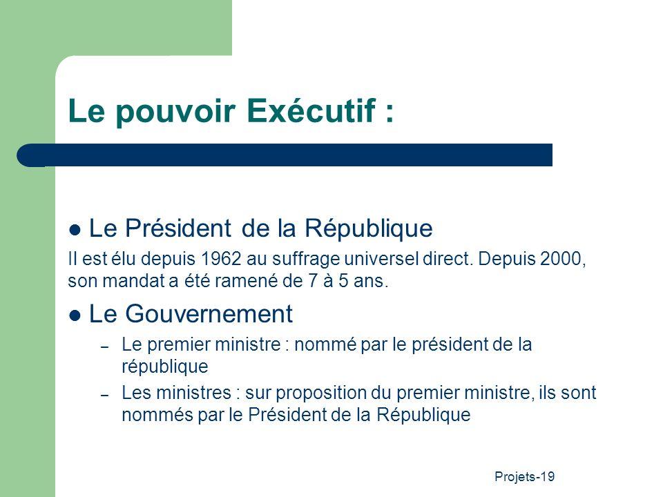 Le pouvoir Exécutif : Le Président de la République Le Gouvernement