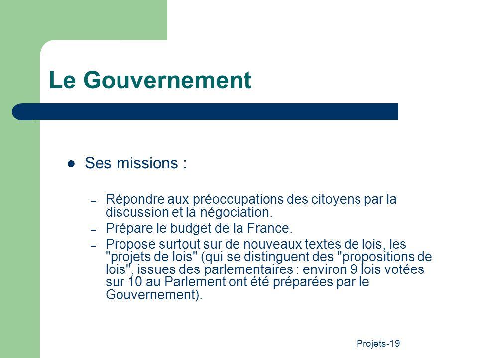 Le Gouvernement Ses missions :