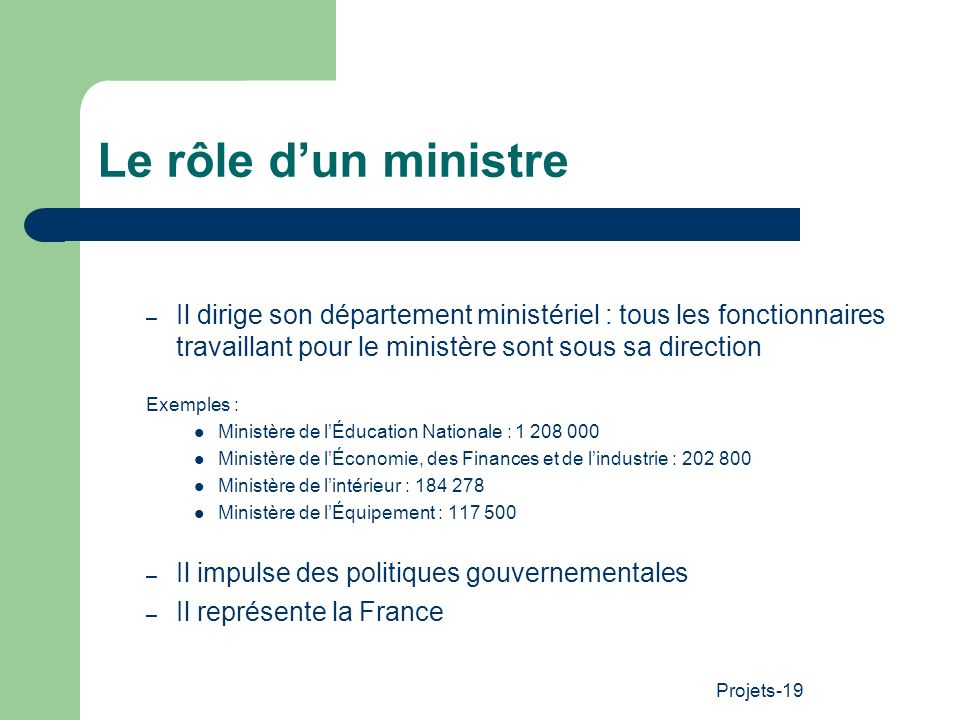 Le rôle d'un ministre Il dirige son département ministériel : tous les fonctionnaires travaillant pour le ministère sont sous sa direction.