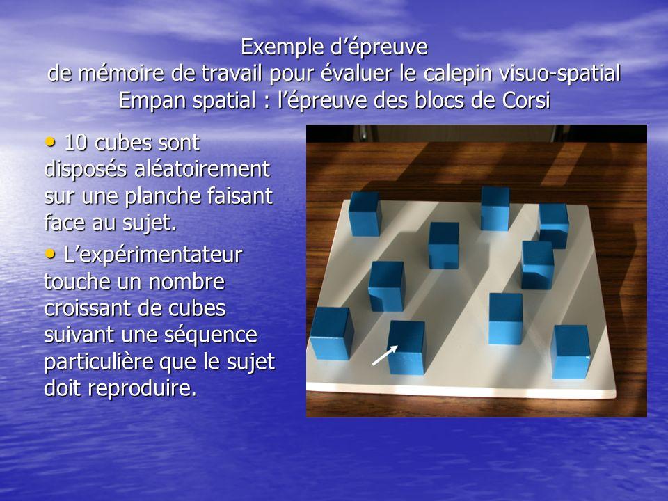 Exemple d'épreuve de mémoire de travail pour évaluer le calepin visuo-spatial Empan spatial : l'épreuve des blocs de Corsi