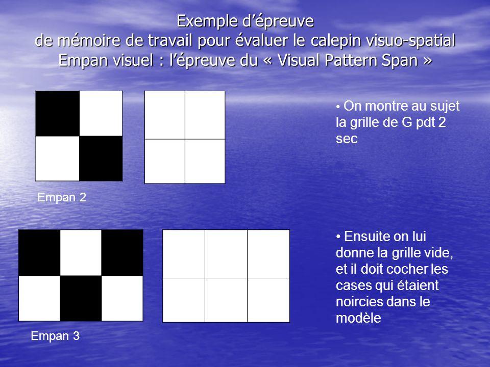 Exemple d'épreuve de mémoire de travail pour évaluer le calepin visuo-spatial Empan visuel : l'épreuve du « Visual Pattern Span »
