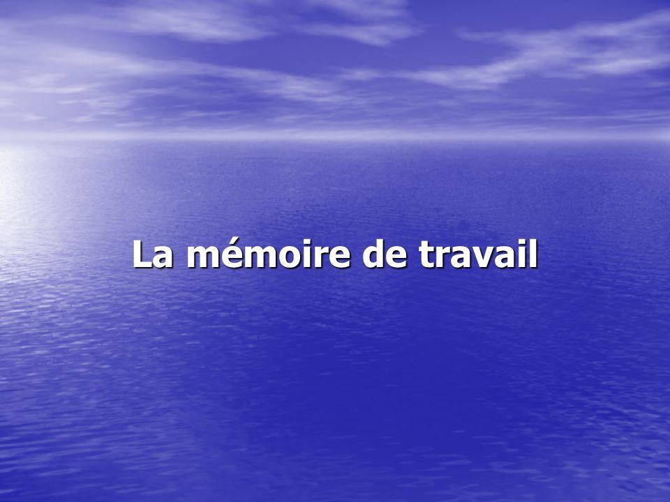 La mémoire de travail