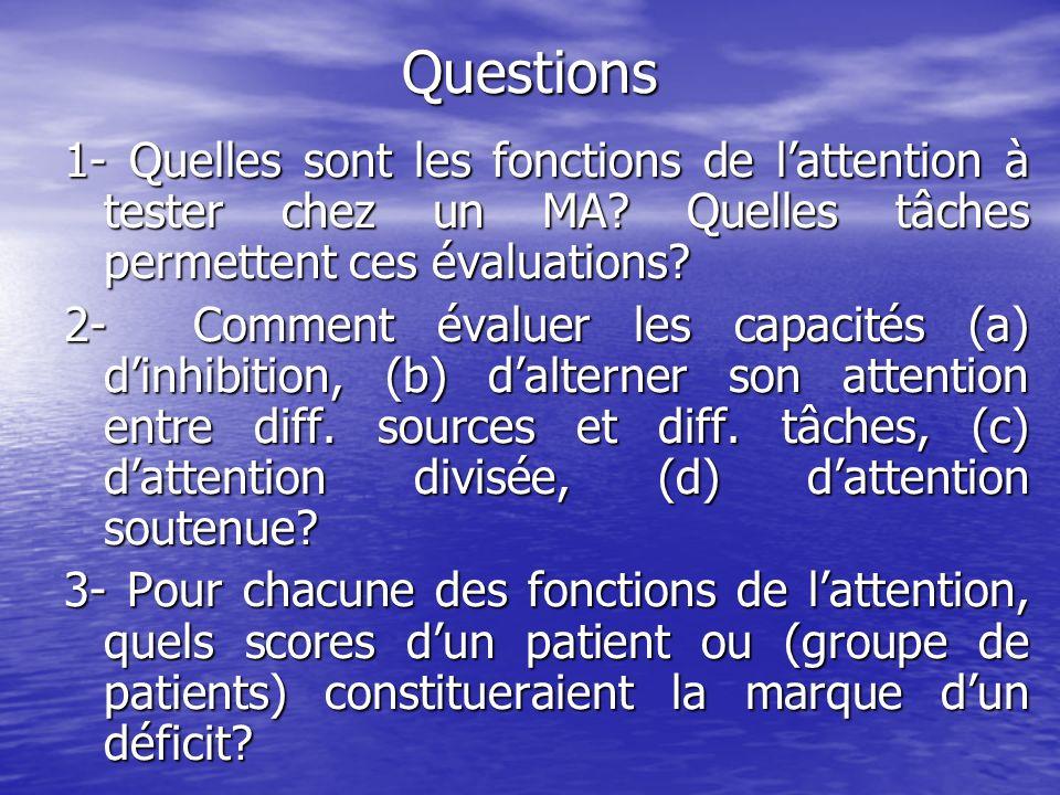 Questions 1- Quelles sont les fonctions de l'attention à tester chez un MA Quelles tâches permettent ces évaluations