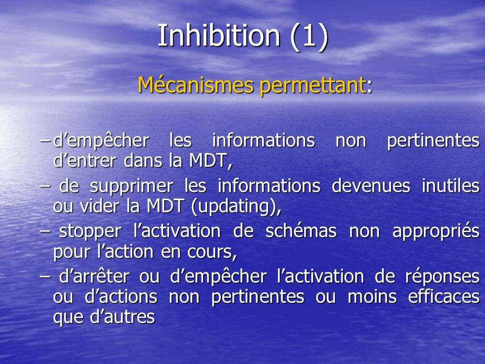 Mécanismes permettant: