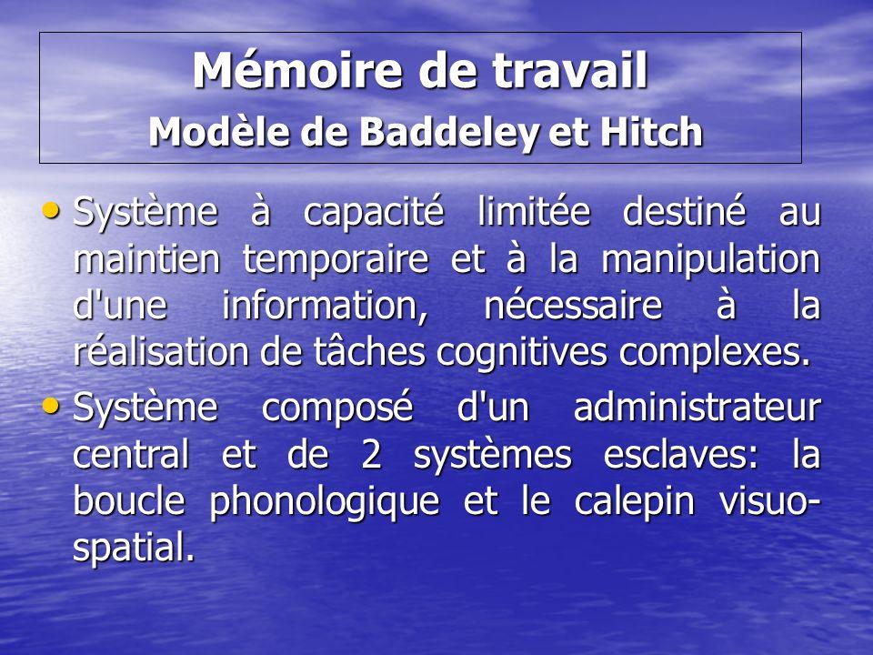 Mémoire de travail Modèle de Baddeley et Hitch