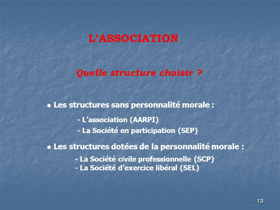 Quelle structure choisir