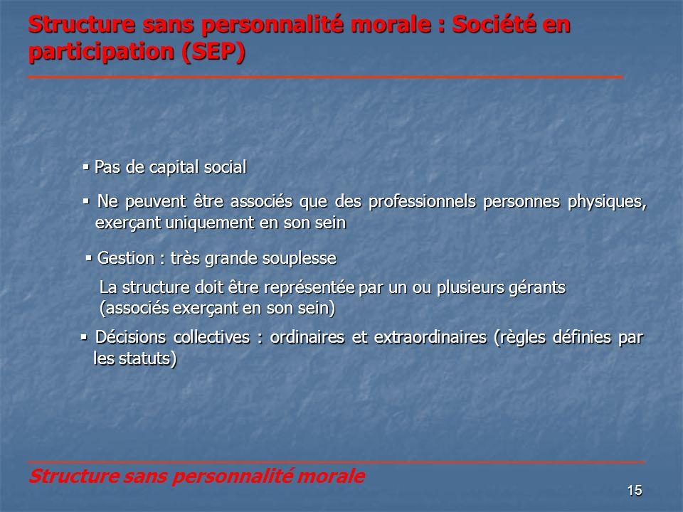 Structure sans personnalité morale : Société en participation (SEP)