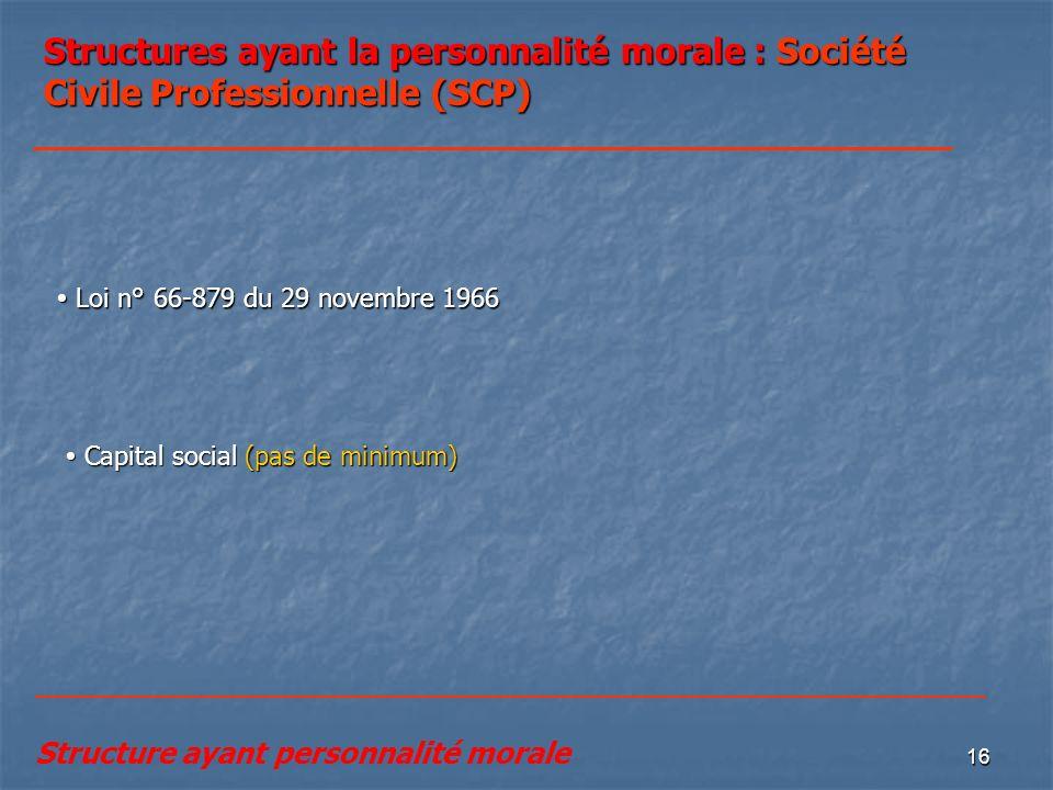 Structures ayant la personnalité morale : Société Civile Professionnelle (SCP)