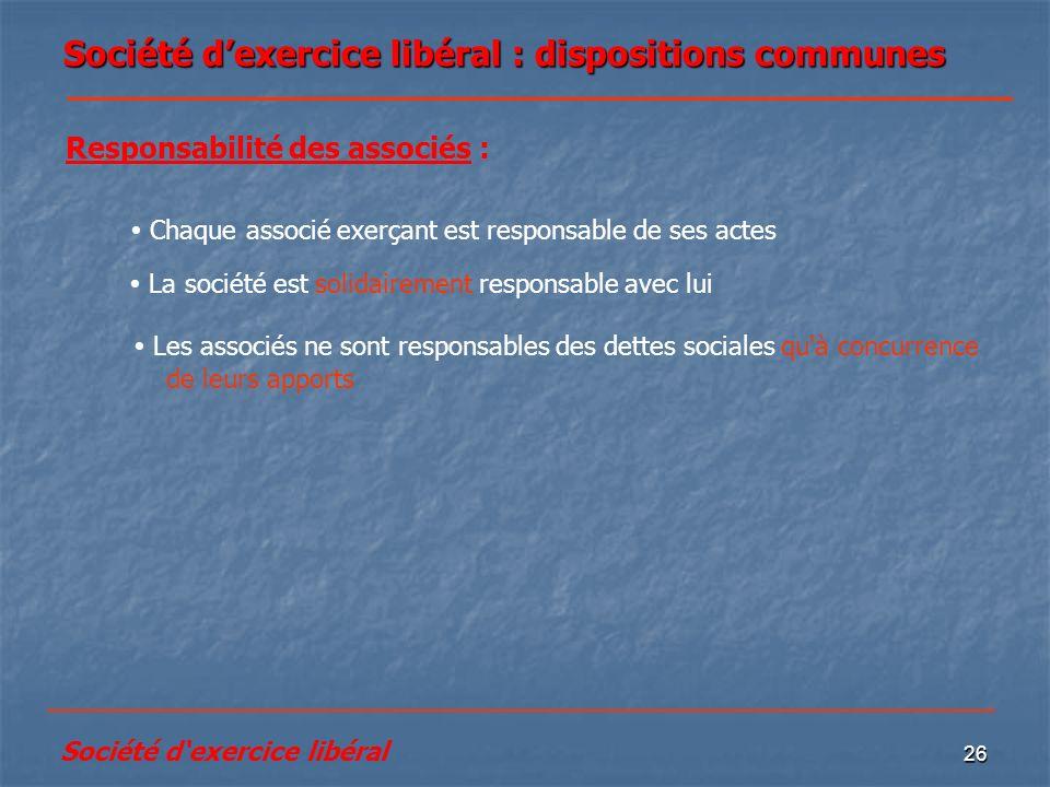 Société d'exercice libéral : dispositions communes