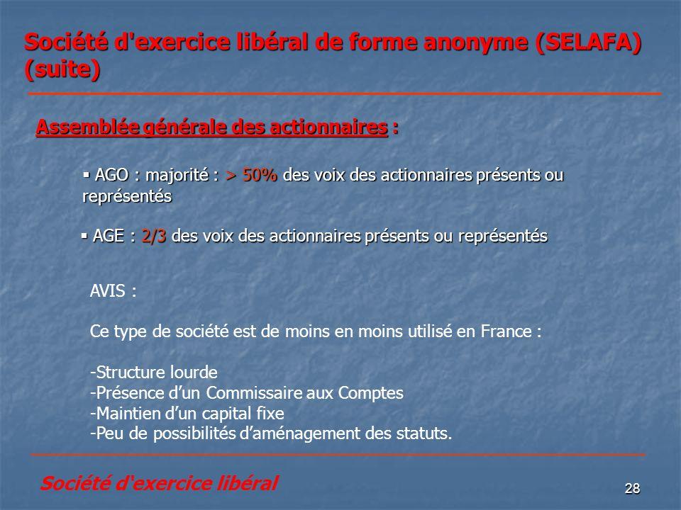Société d exercice libéral de forme anonyme (SELAFA) (suite)