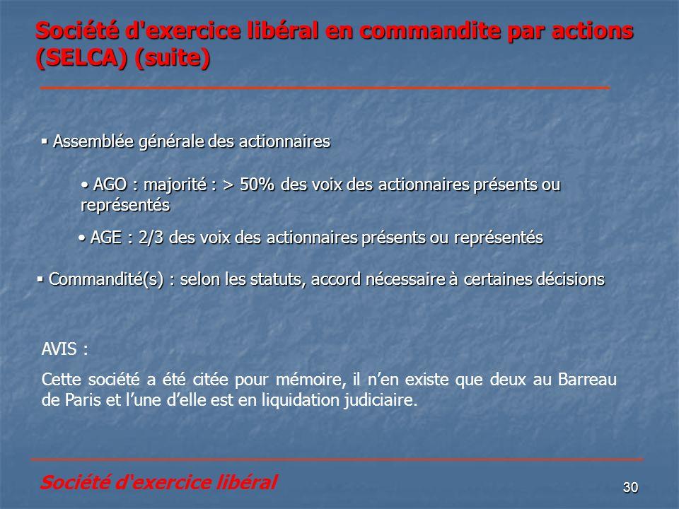 Société d exercice libéral en commandite par actions (SELCA) (suite)
