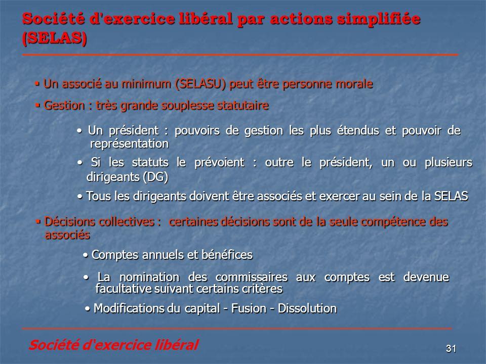 Société d exercice libéral par actions simplifiée (SELAS)