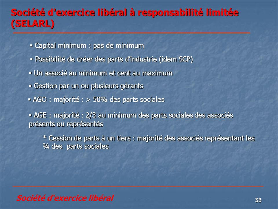 Société d exercice libéral à responsabilité limitée (SELARL)