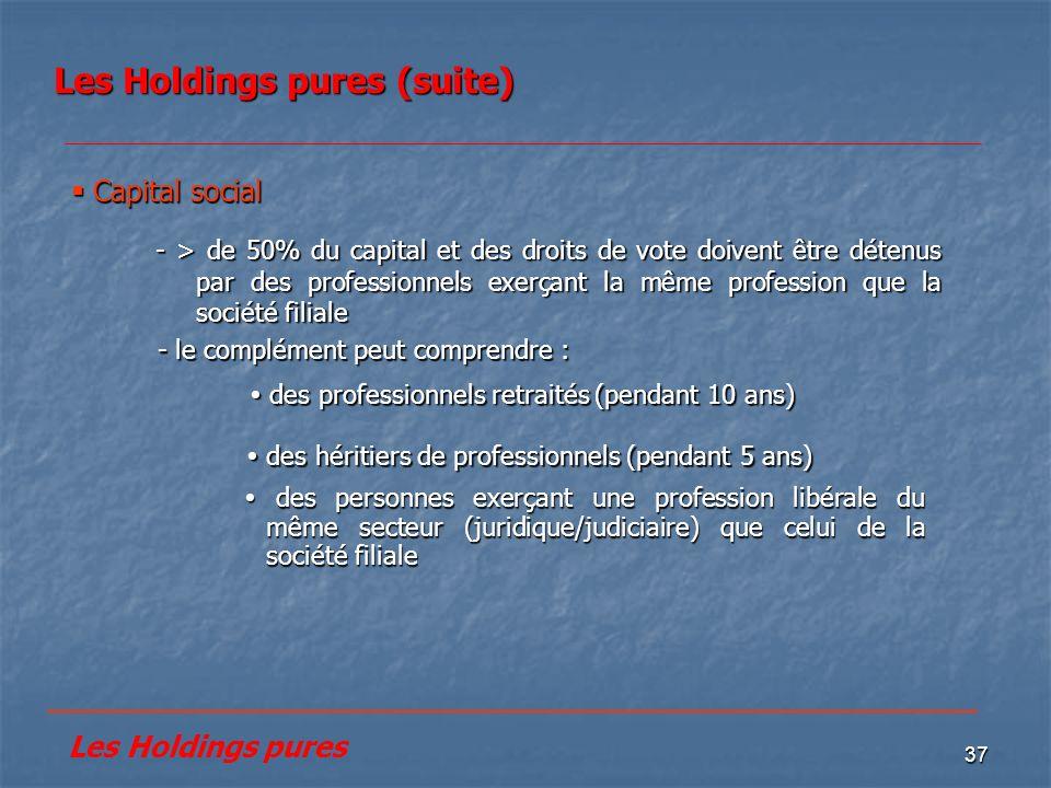 Les Holdings pures (suite)