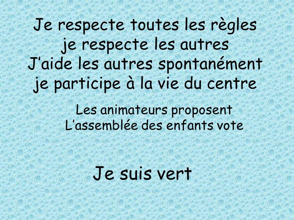 Je respecte toutes les règles je respecte les autres J'aide les autres spontanément je participe à la vie du centre