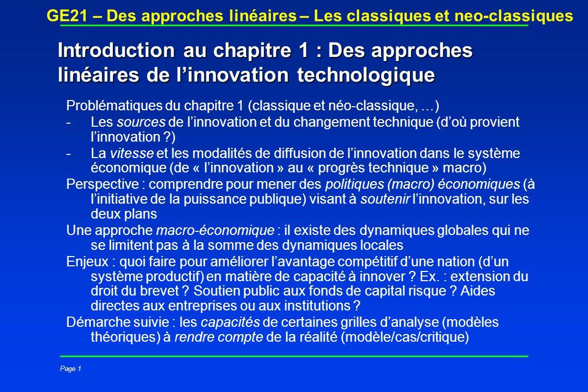 Introduction au chapitre 1 : Des approches linéaires de l'innovation technologique