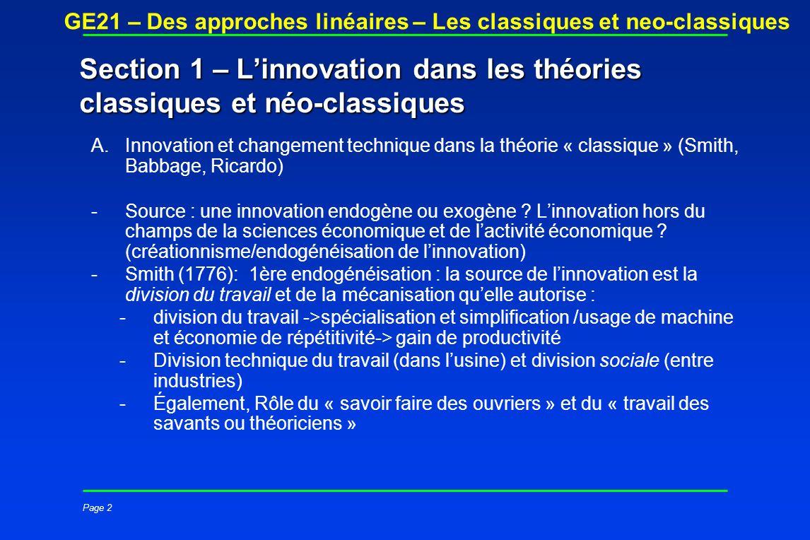 Section 1 – L'innovation dans les théories classiques et néo-classiques