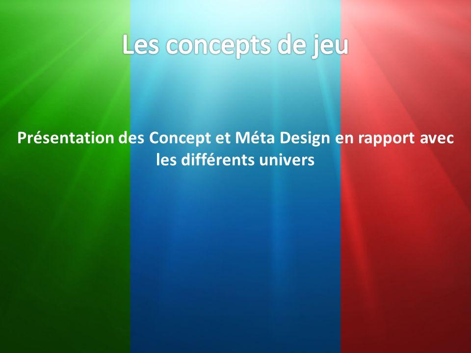 Les concepts de jeu Présentation des Concept et Méta Design en rapport avec les différents univers
