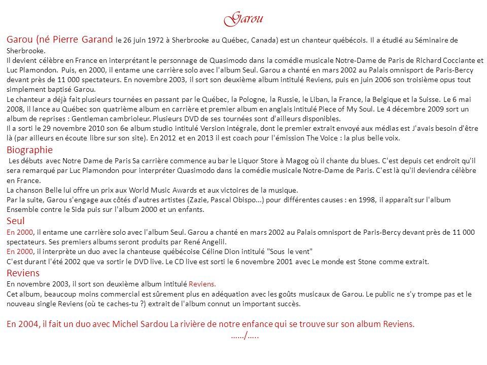 Garou Garou (né Pierre Garand le 26 juin 1972 à Sherbrooke au Québec, Canada) est un chanteur québécois. Il a étudié au Séminaire de Sherbrooke.