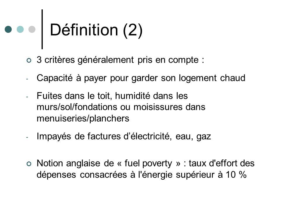 Définition (2) 3 critères généralement pris en compte :