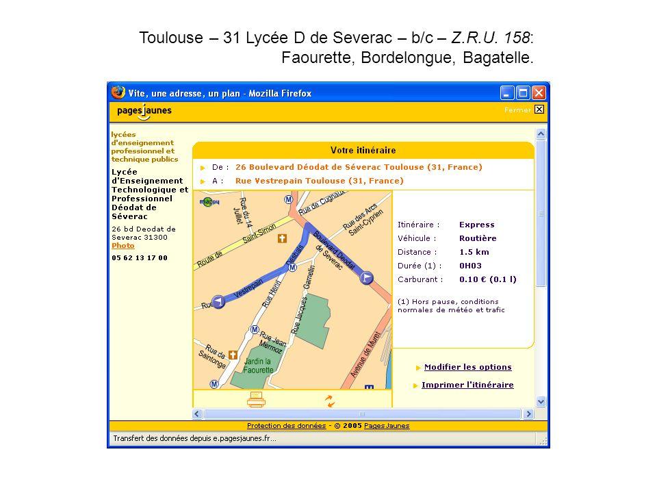 Toulouse – 31 Lycée D de Severac – b/c – Z. R. U
