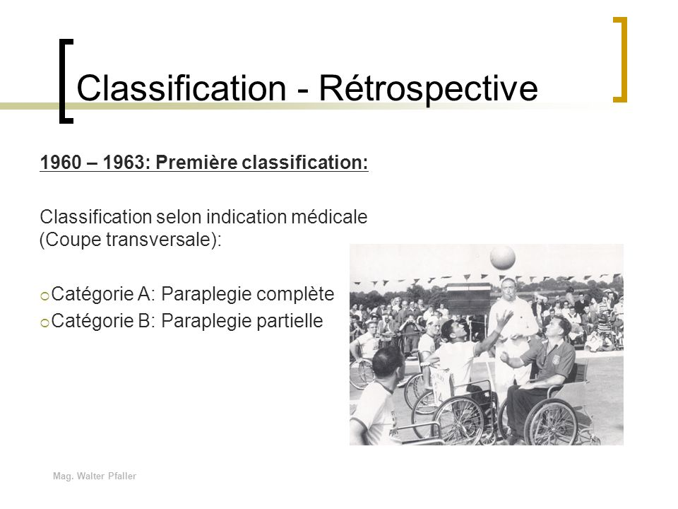 Classification - Rétrospective