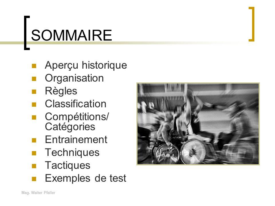 SOMMAIRE Aperçu historique Organisation Règles Classification