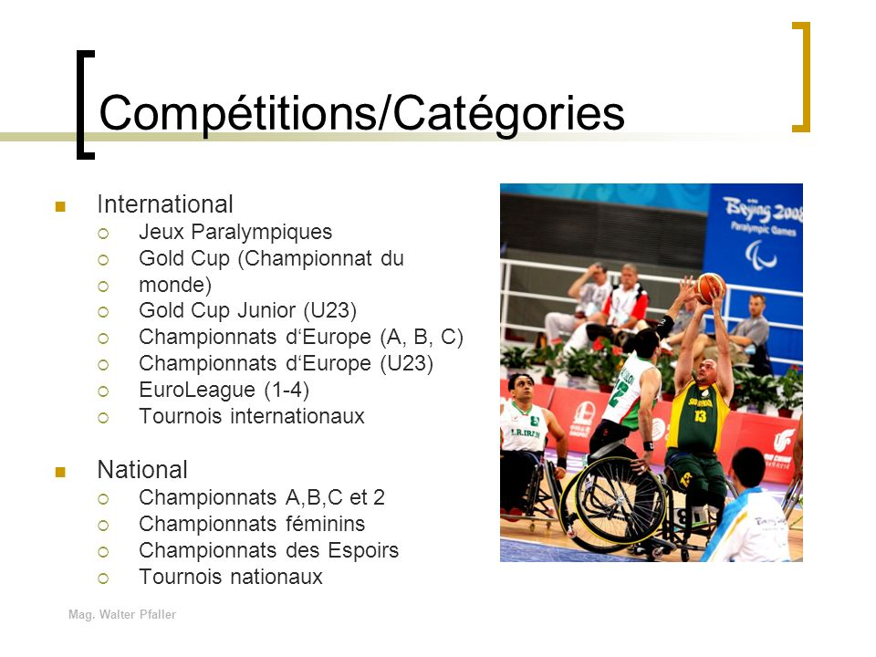 Compétitions/Catégories