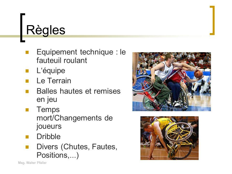 Règles Equipement technique : le fauteuil roulant L'équipe Le Terrain