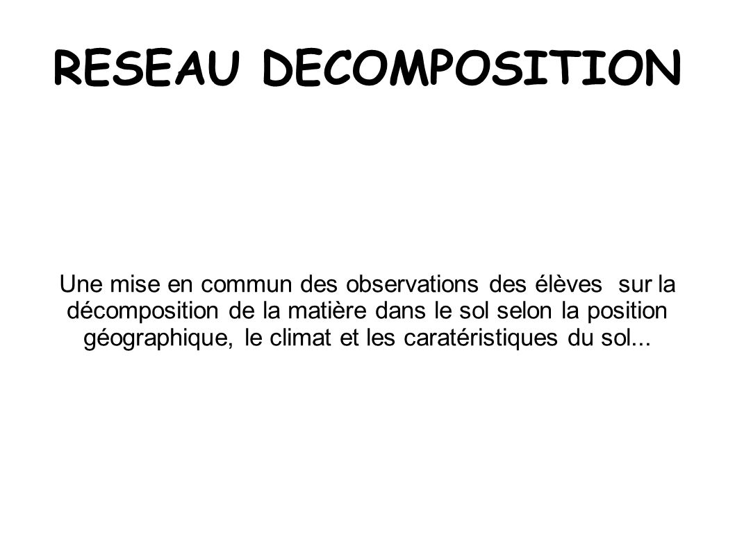 RESEAU DECOMPOSITION
