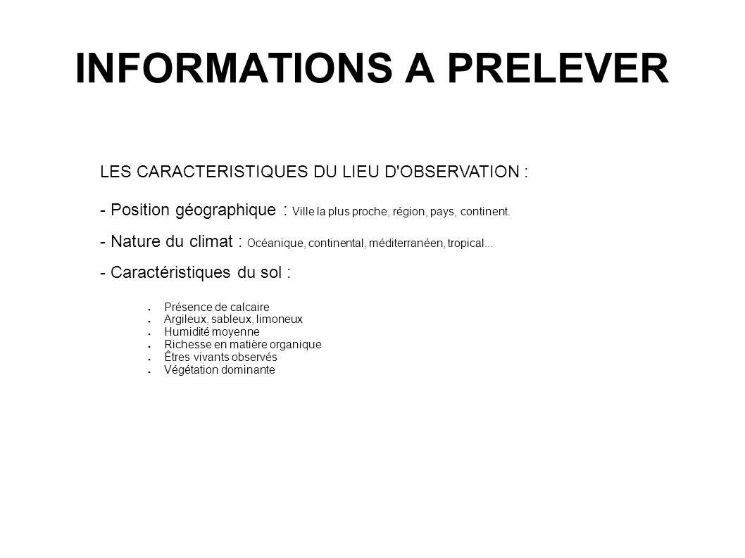 INFORMATIONS A PRELEVER