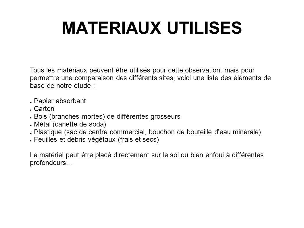 MATERIAUX UTILISES