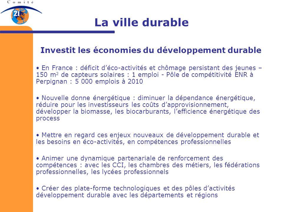 Investit les économies du développement durable
